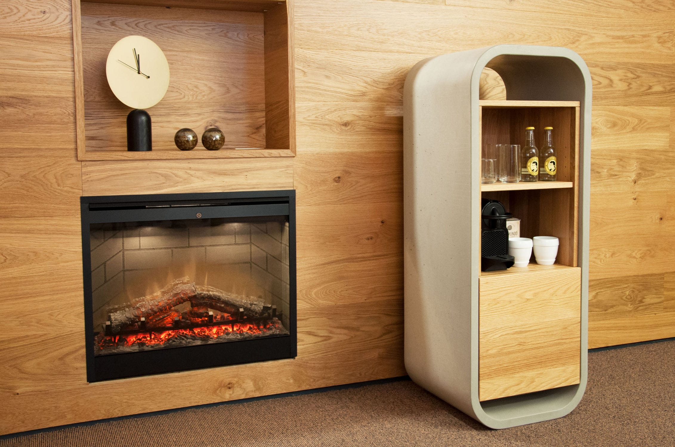 Meuble minibar contemporain en béton en chêne pour chambre d