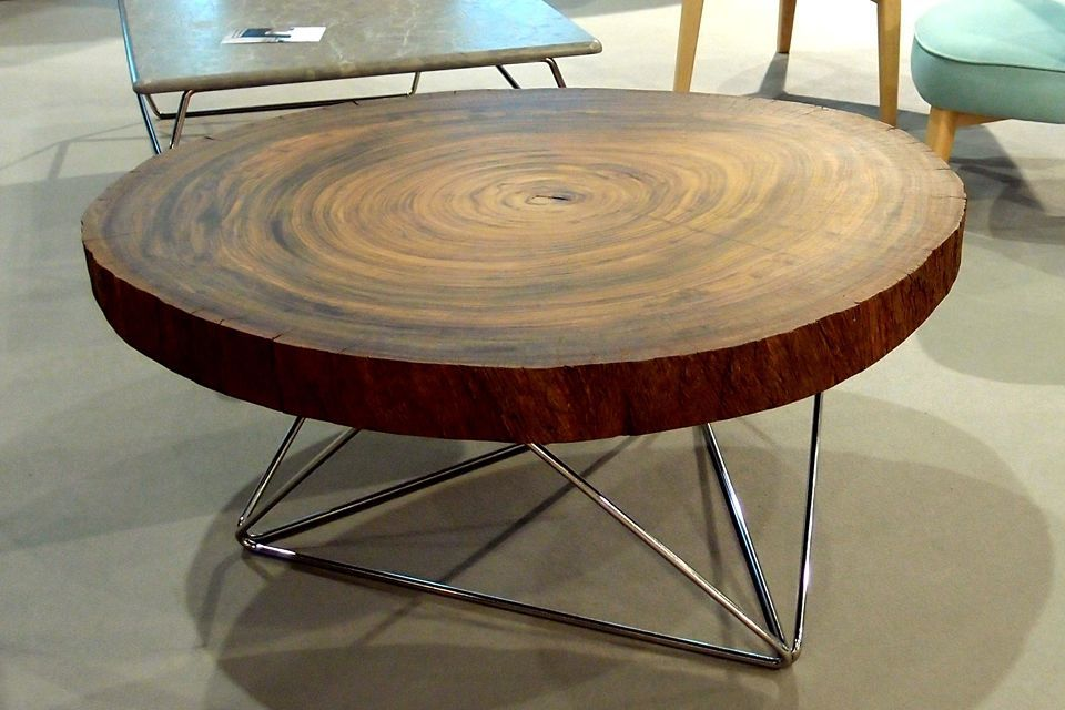 Table Basse Ronde Bois Massif Table Basse Exotique Maisonjoffrois - Table ronde bois massif