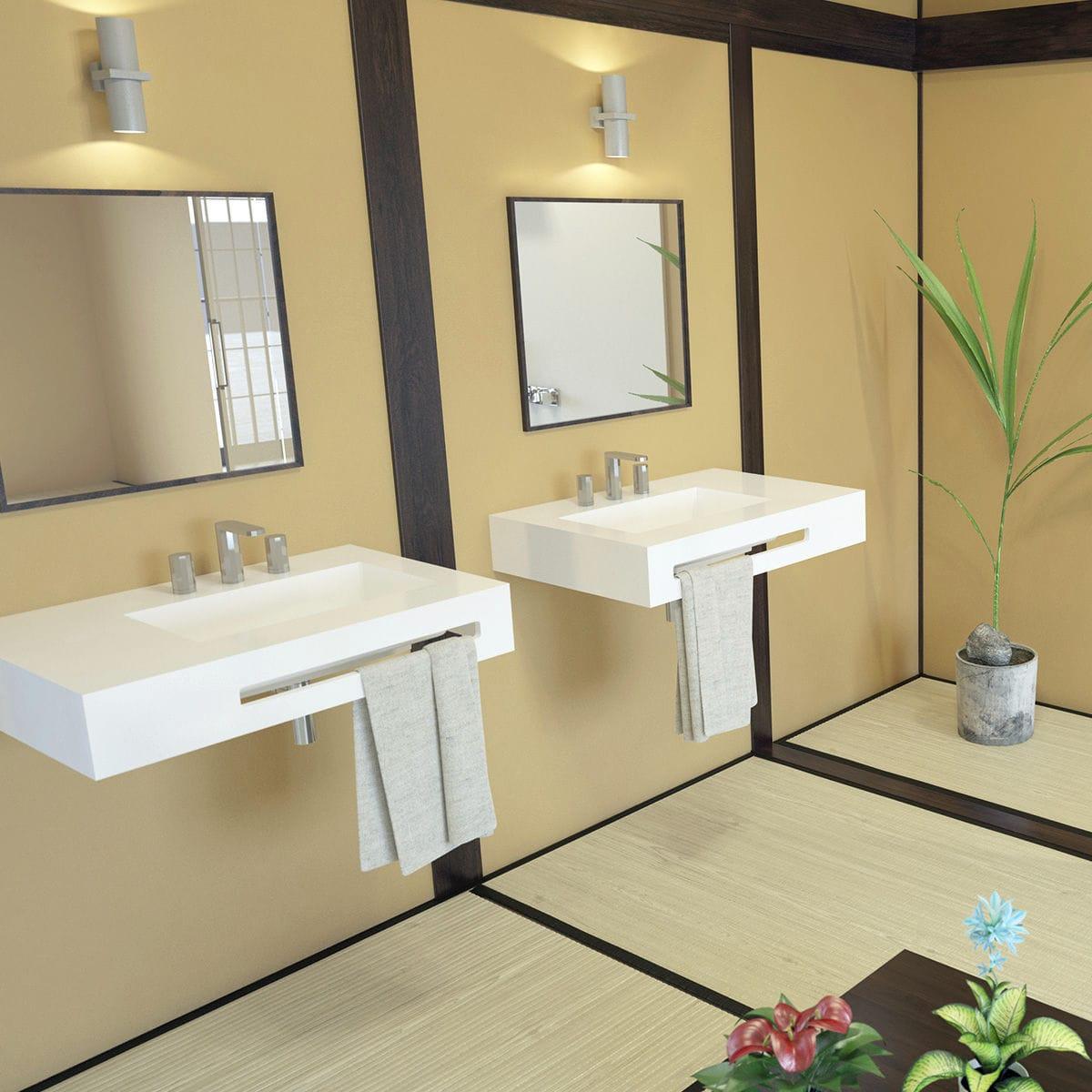 Vasque Avec Trop Plein Int Gr Plan Vasque En Résine - Sur Mesure - Avec Porte-serviettes Intégré - Urban