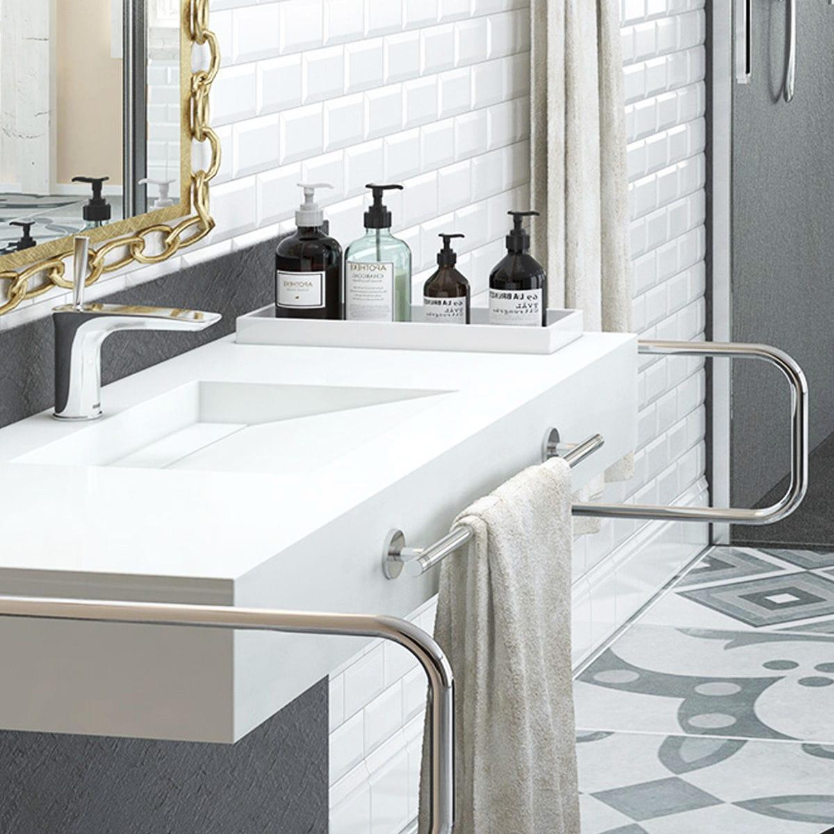 vasque avec trop plein int gr plan vasque en résine - sur mesure - avec porte-serviettes intégré -  COSMOPOLITAN