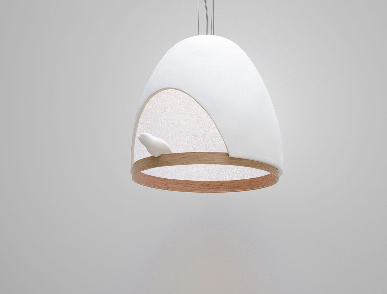 Lampe suspension / contemporaine / en chêne / en plâtre - OISEAU ... - Lampe Oiseau