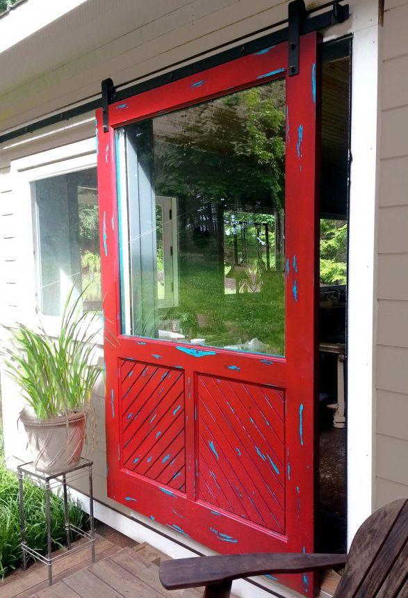 Bien-aimé Porte d'entrée / coulissante / en bois / semi-vitrée - WAKEFIELD  EE29