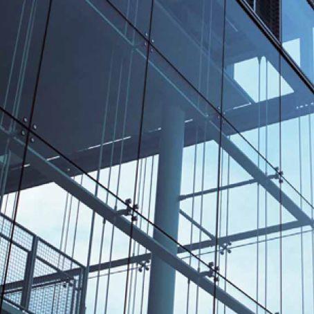 Mur-rideau en vitrage agrafé / en acier / en verre - ADEN METAL