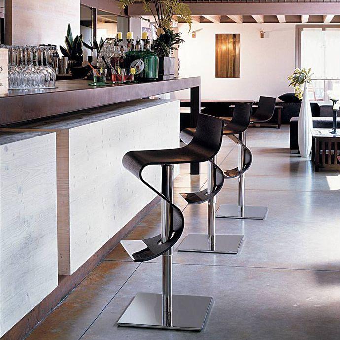 Tabouret de bar contemporain / contreplaqué / en acier / piètement ...