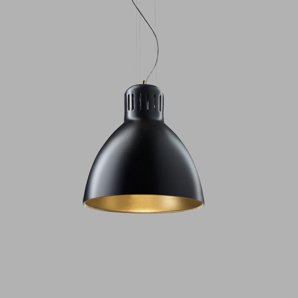 Lampe suspension / design industriel / en aluminium / noire - ARCHI ...