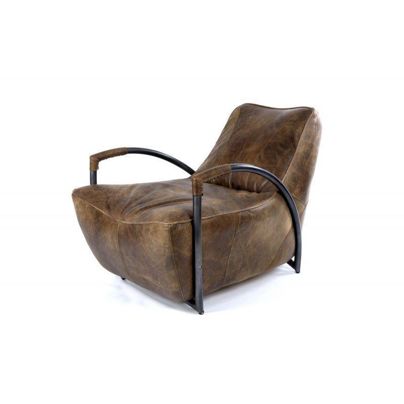 Fauteuil de style industriel en cuir en fer SOFA BATCH WHISKEY