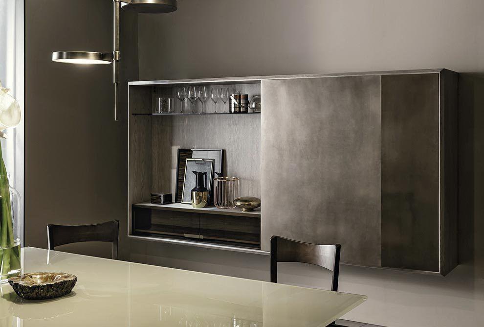 meuble bar contemporain en bois en verre prism