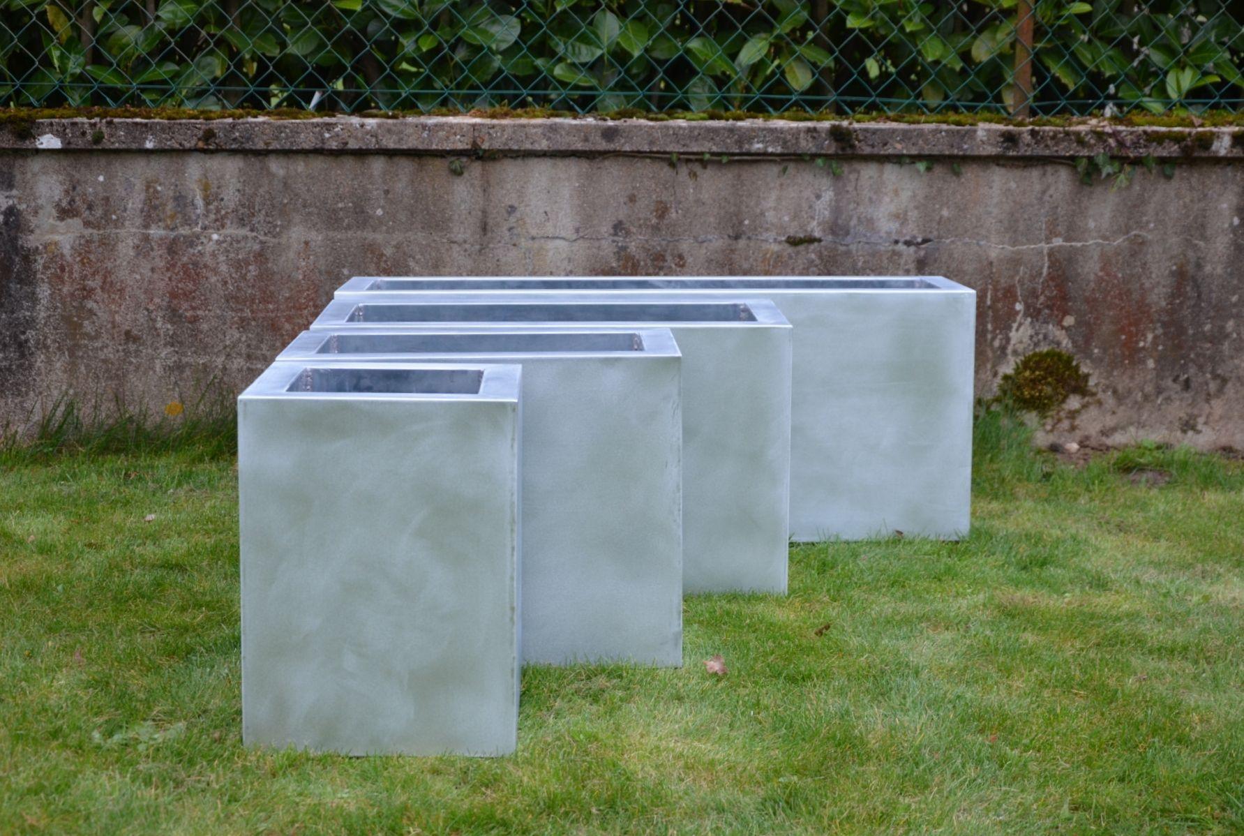 Jardini¨re en zinc carrée rectangulaire contemporaine SP