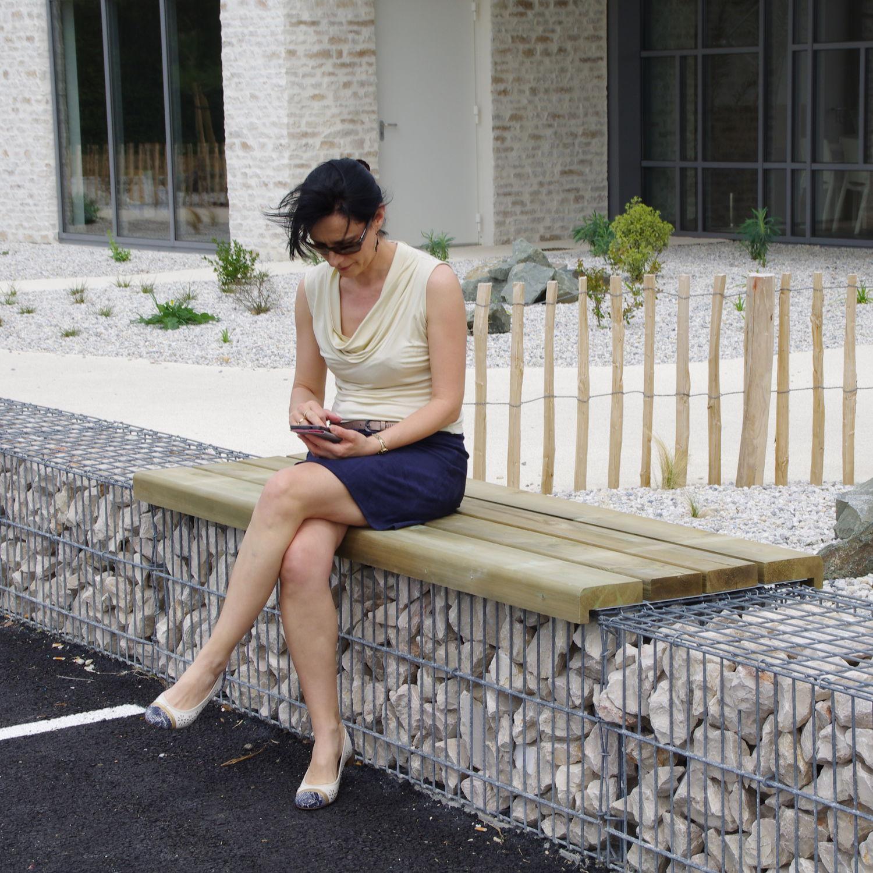 Banc pour gabion / public / de jardin / contemporain - MOBILIER ...
