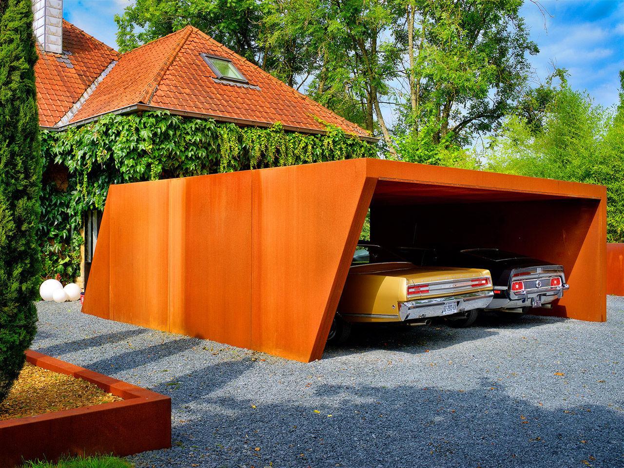 Abri de voiture en acier corten - CARPORT - LMT Produkte