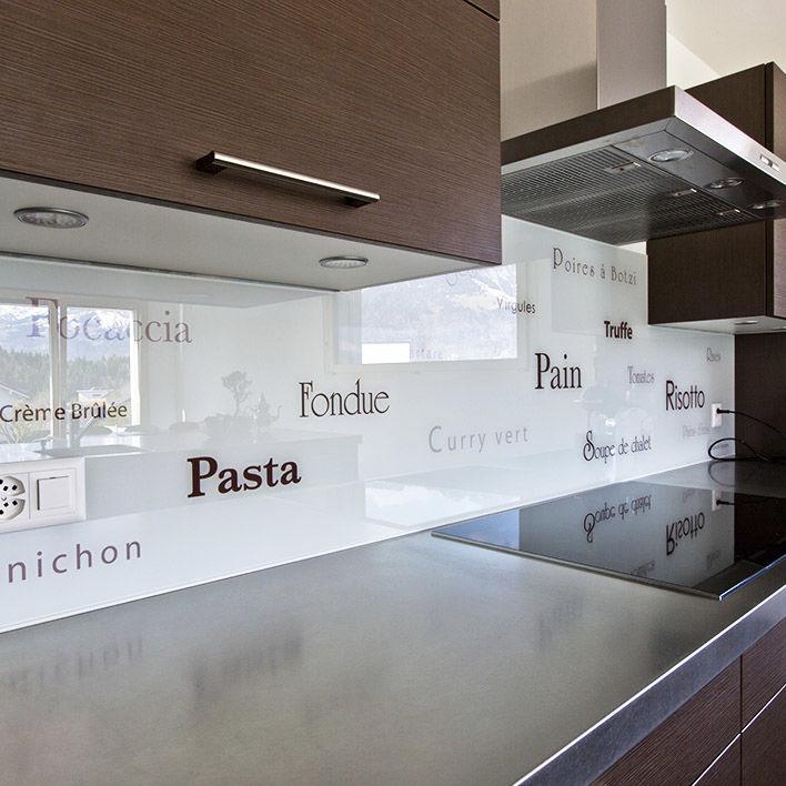 Panneau Décoratif En Verre / Pour Cuisine / Lisse / Personnalisé