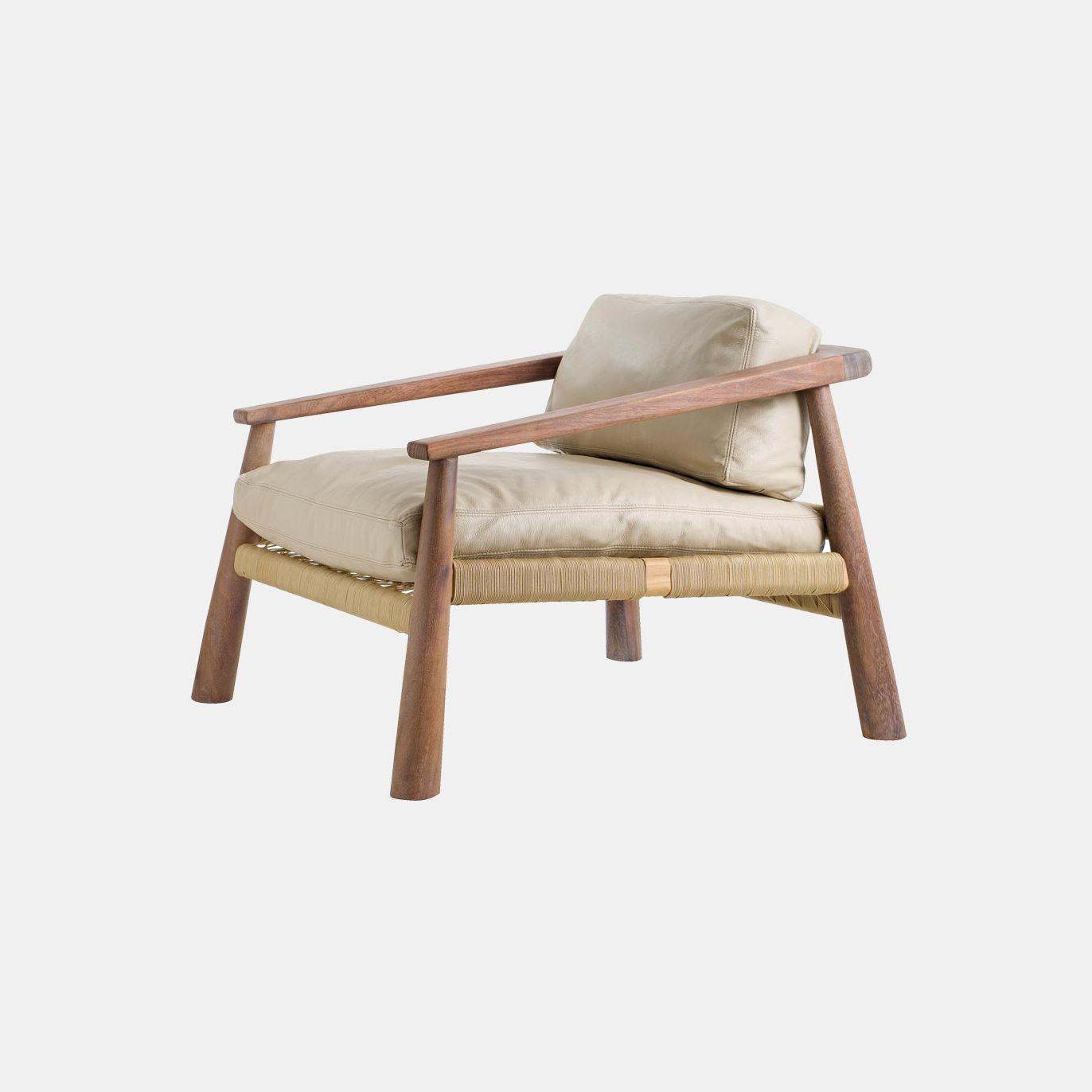 fauteuil contemporain en cuir en bois en corde magnet - Fauteuil En Bois