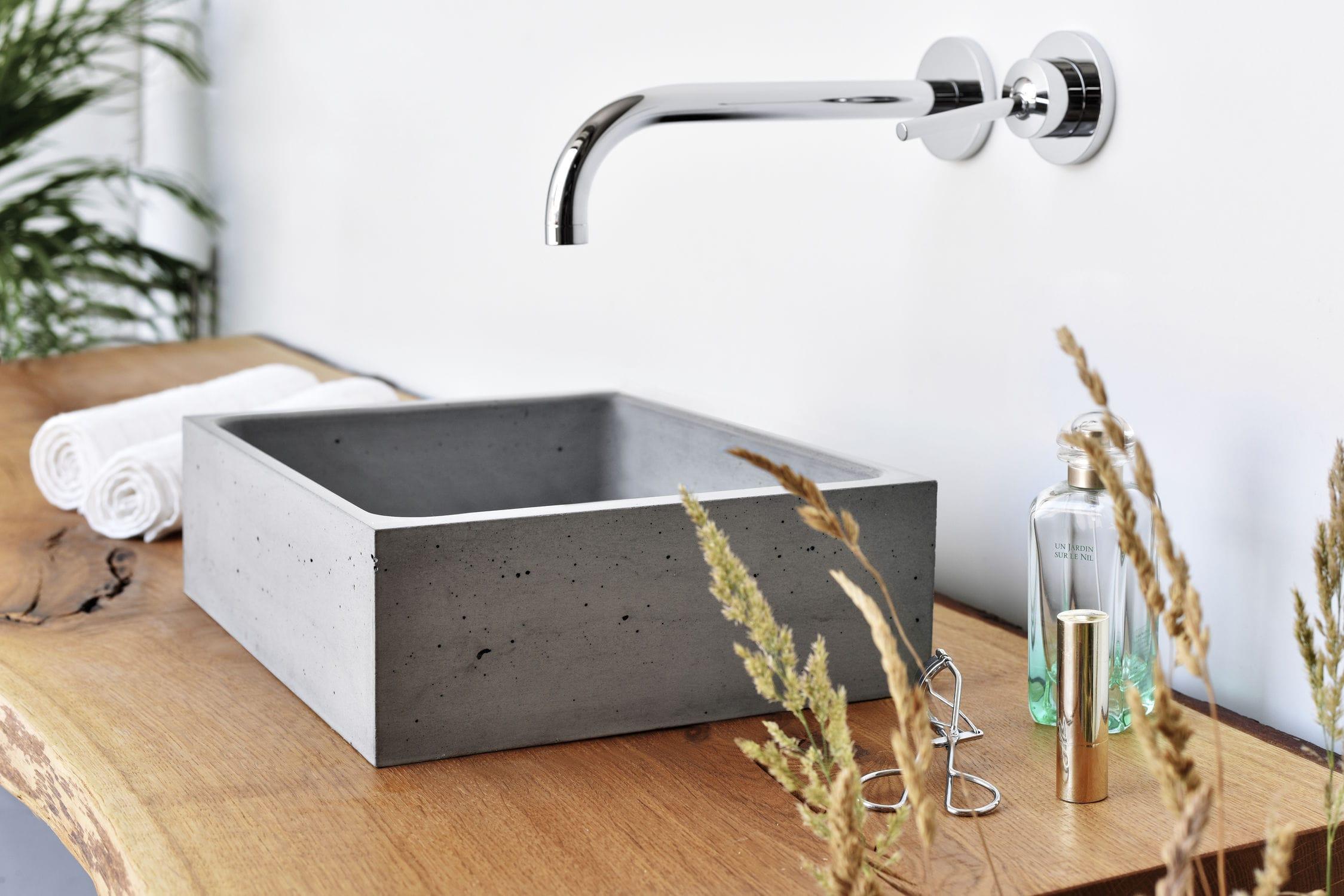 Vasque à poser / rectangulaire / en béton / contemporaine - BOX MINI ...