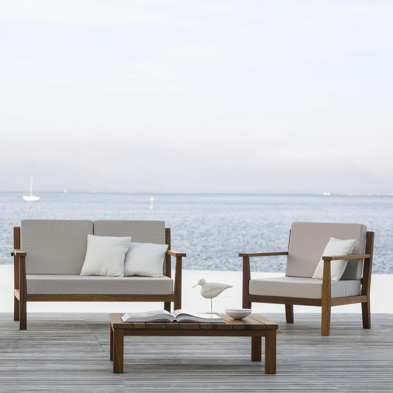 Canapé contemporain / de jardin / en tissu / en iroko - OXFORD-D ...