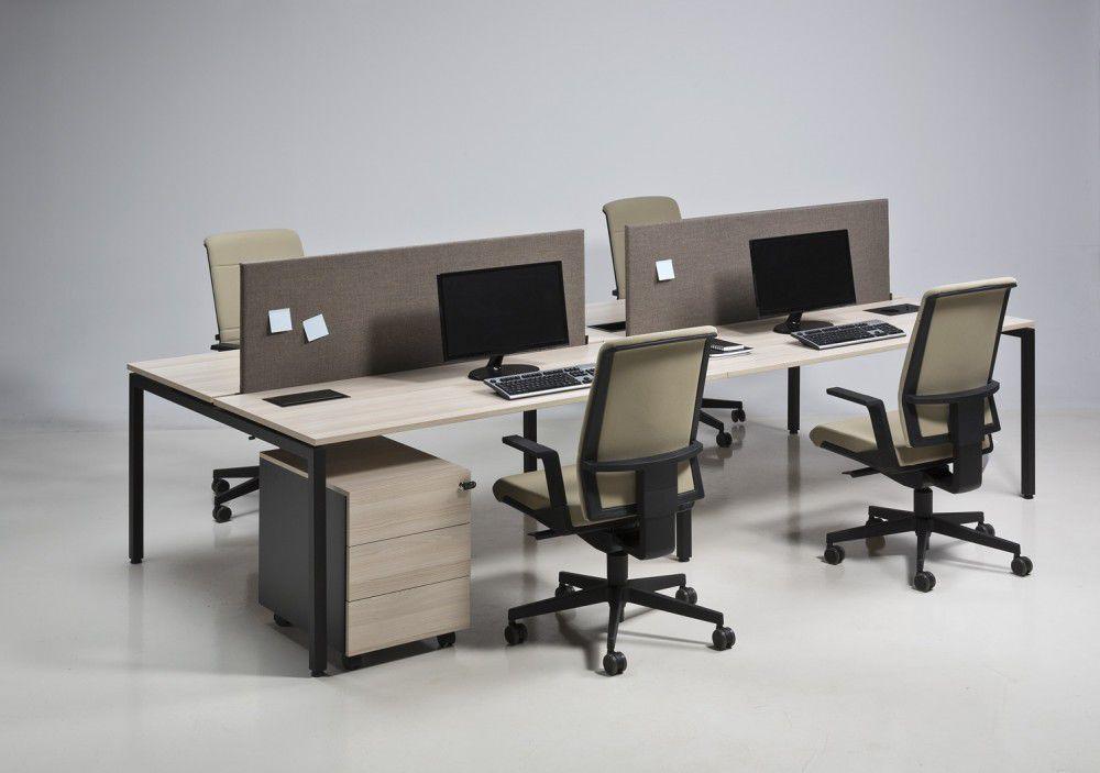Bureau pour open space en bois en stratifié contemporain