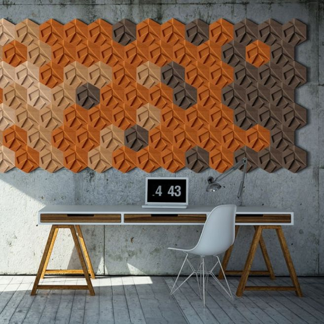 rev tement mural en li ge naturel r sidentiel 3d en dalles organic blocks hexagon muratto. Black Bedroom Furniture Sets. Home Design Ideas