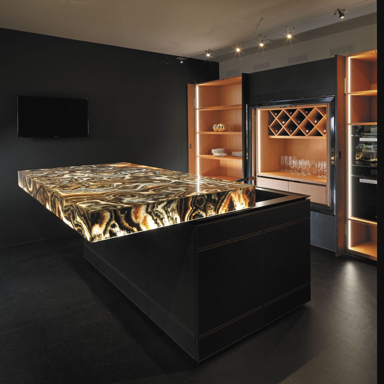Plan de travail design original / en onyx / de cuisine - CORAL BLACK ...