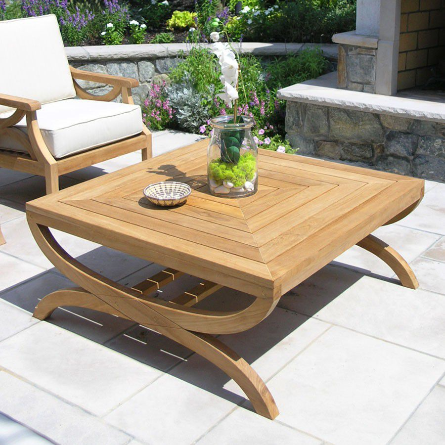 Table basse contemporaine / en teck / carrée / de jardin - FIORI ...