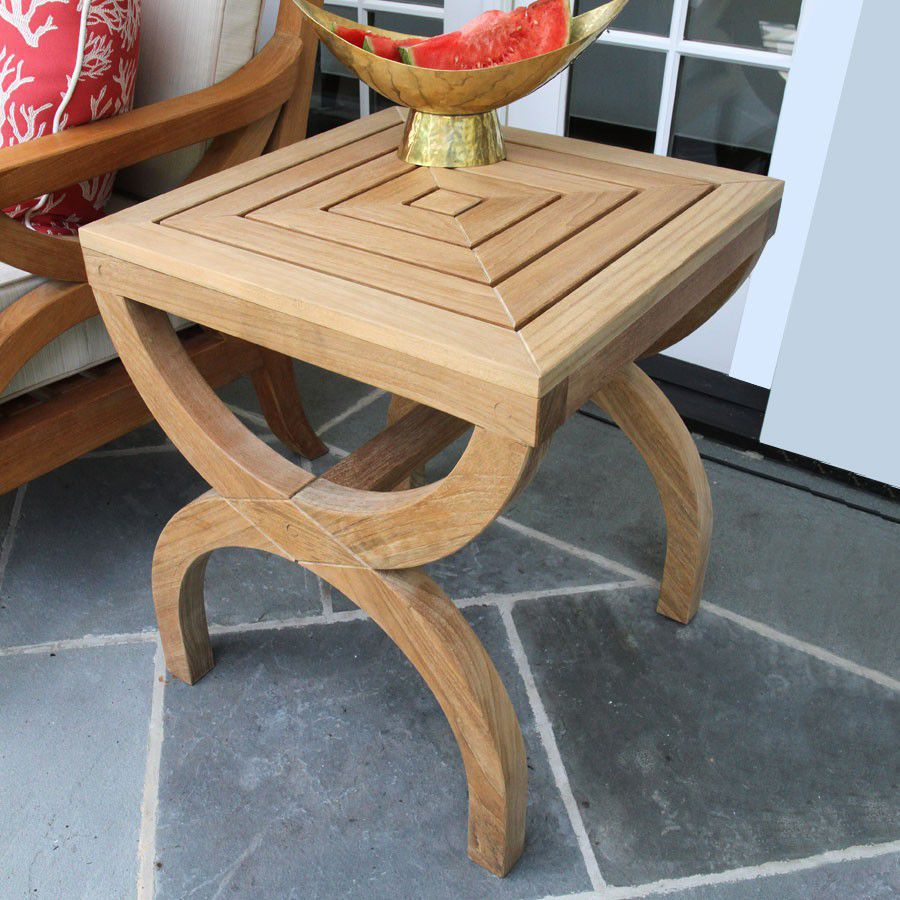 Table d\'appoint contemporaine / en teck / carrée / de jardin - FIORI ...
