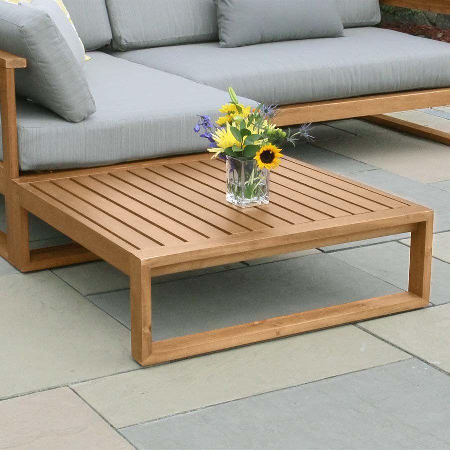 Table d\'appoint contemporaine / en teck / carrée / de jardin ...