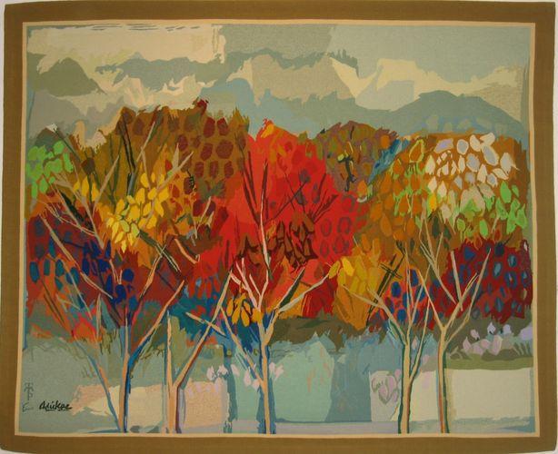 Tapisserie Contemporaine A Motif En Laine Autumn Garden By