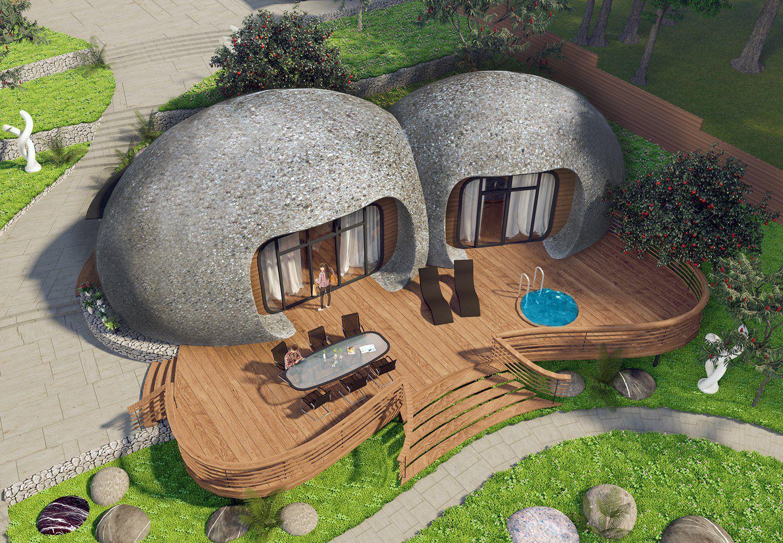 Maison type bungalow design original en béton écologique dwelling