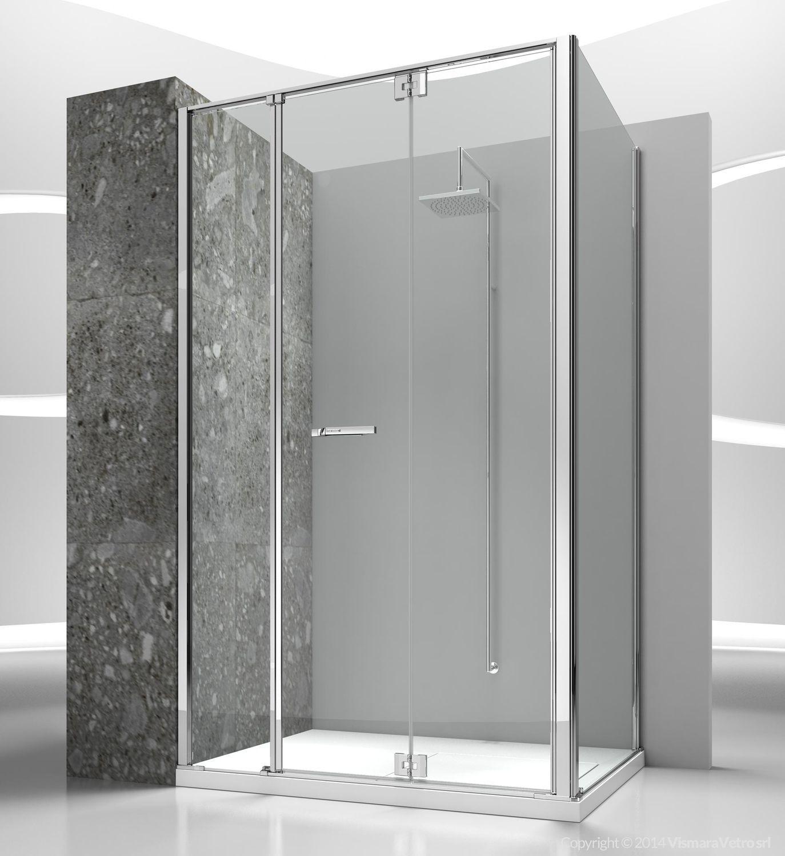 cabine de douche en verre rectangulaire avec porte pliante replay rmrg
