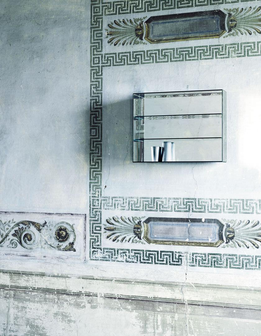tagre murale contemporaine en verre avec miroir mirror mirror glas italia - Etagere Murale Miroir