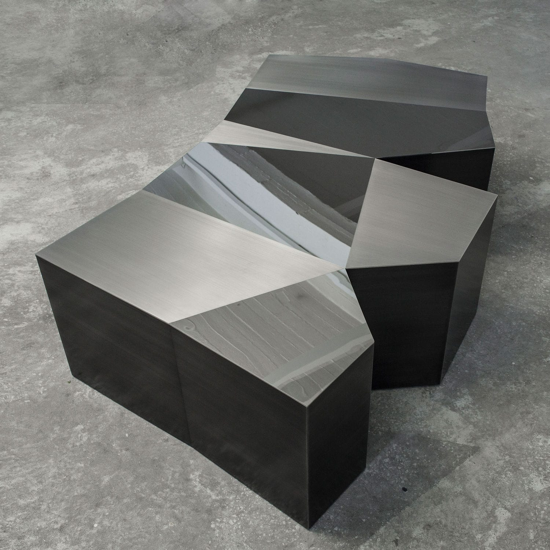 Table Basse Design Original En Acier Inoxydable Brosse Blanche