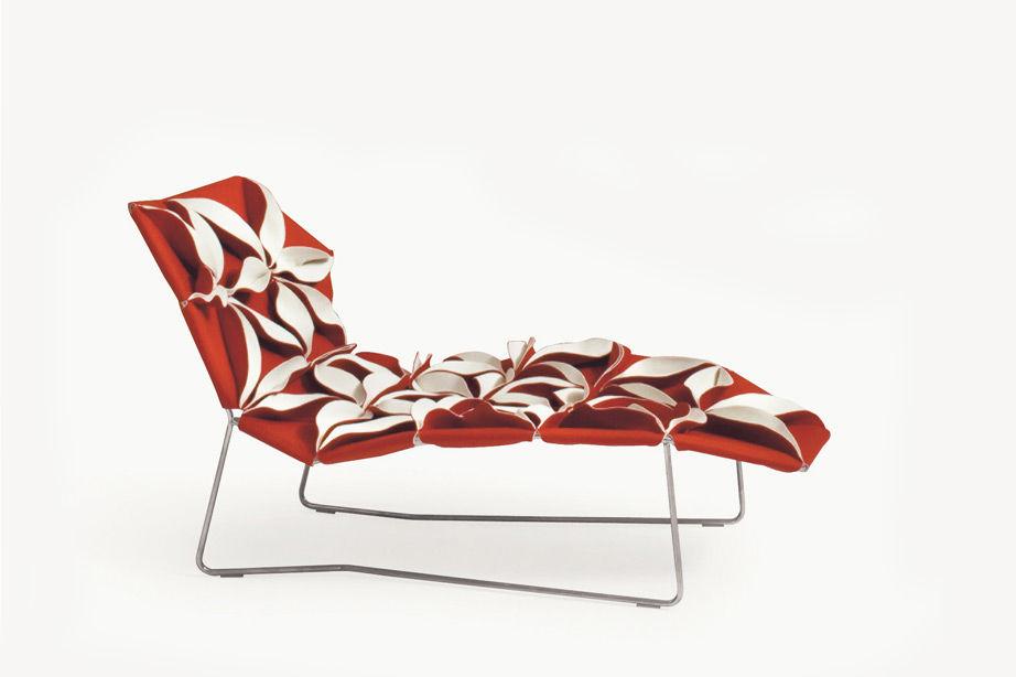 Chaise Longue Design Original  En Tissu  En Cuir  En Acier