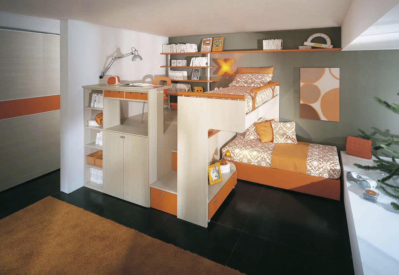 Chambre d\'enfant orange / mixte - ARCAMAGICA 2 - Sangiorgio Mobili