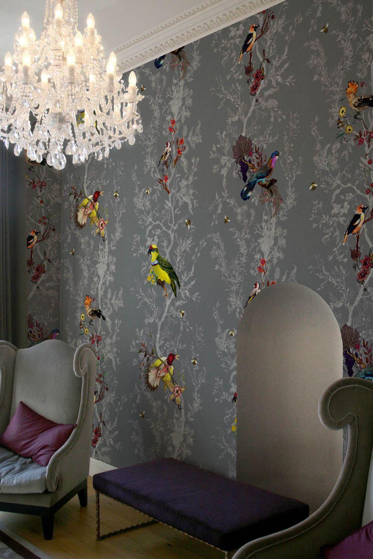 papier peint contemporain motif animalier blanc. Black Bedroom Furniture Sets. Home Design Ideas