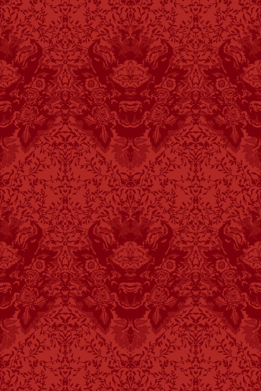 Papier Peint Classique Baroque Noir Rouge Devil Damask Flock