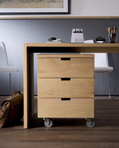 Caisson de bureau en bois 3 tiroirs roulettes 50620