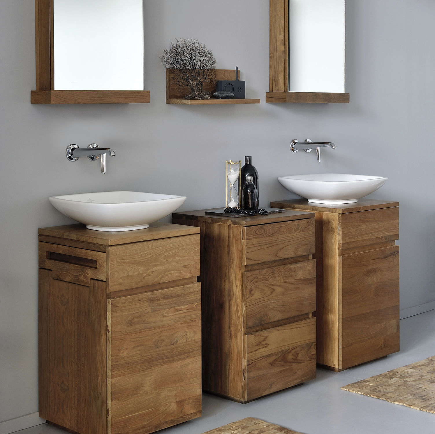 Meuble Vasque à Poser / En Teck / Contemporain   SQUARE : TGO C18033