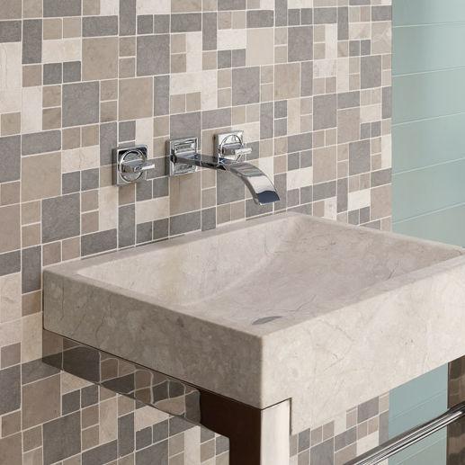Mosaïque de salle de bain / murale / à motif géométrique / grise ...