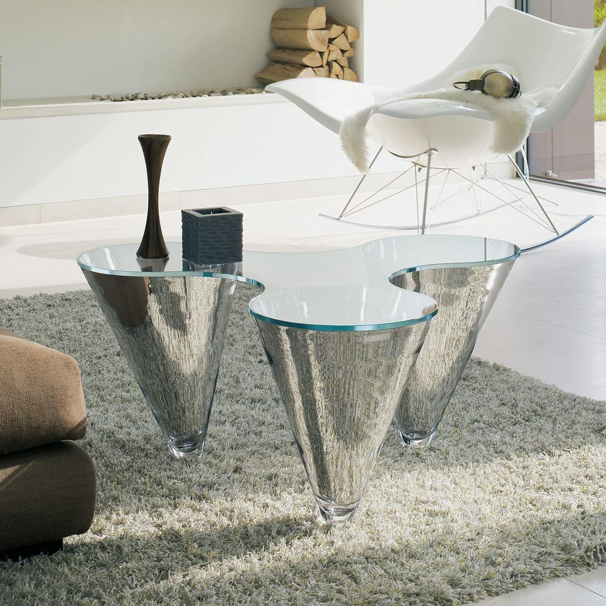 Table Basse Design Original En Verre Courbée Avec Miroir