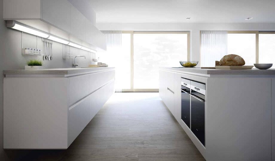 cuisine contemporaine en bois avec lot laque series s3 xey - Cuisine Lineaire Avec Ilot