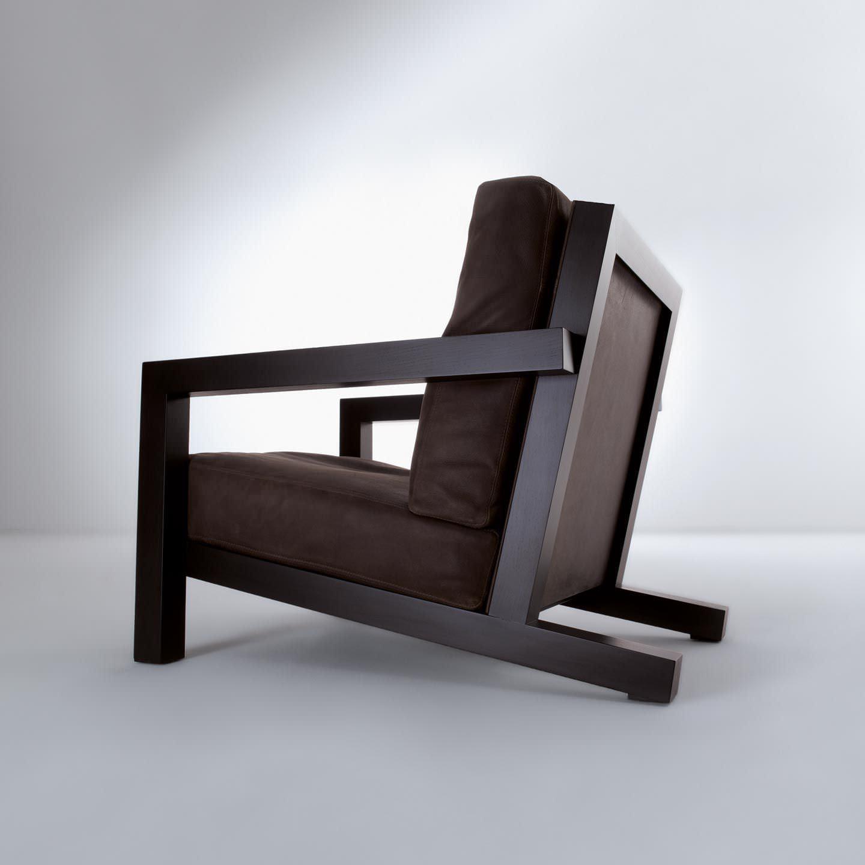 Fauteuil contemporain en bois en tissu en cuir BD 21 by