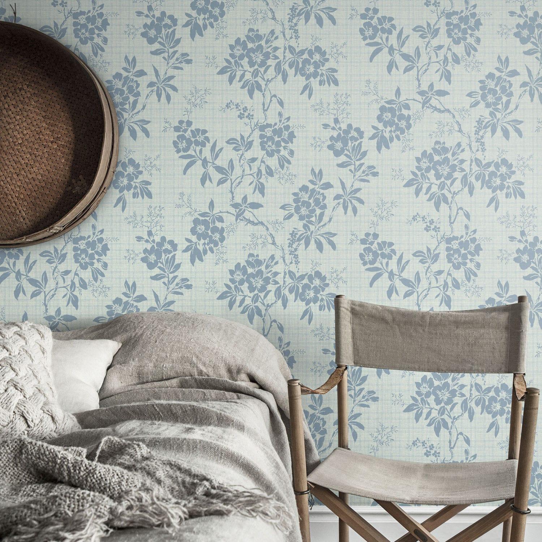 Papier peint classique / motif floral / gris / bleu - VERA by ...