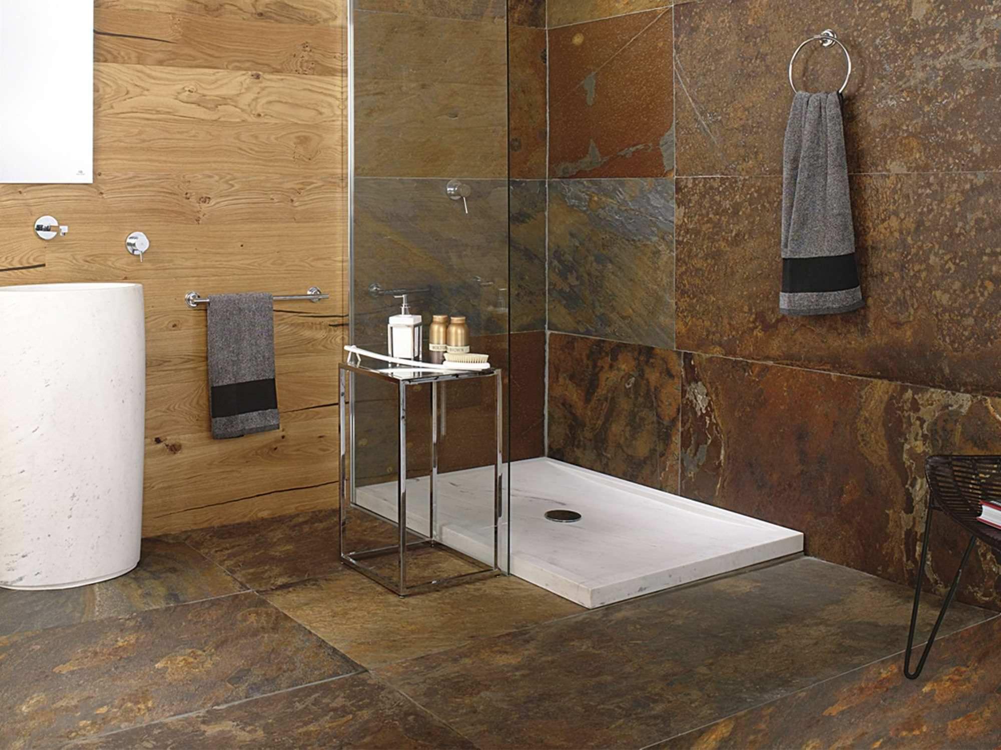 Pierre Naturelle Douche dedans receveur de douche rectangulaire / en pierre naturelle - samui - l
