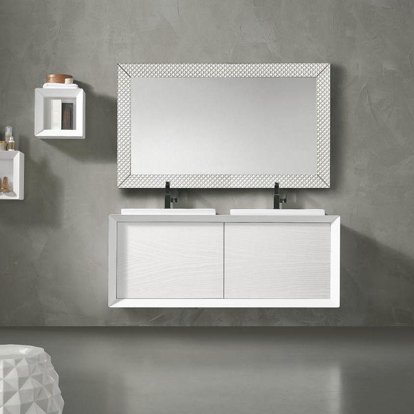 vasque a suspendre 2 meuble vasque double - suspendu - en bois massif - en céramique - TOSCA: 2