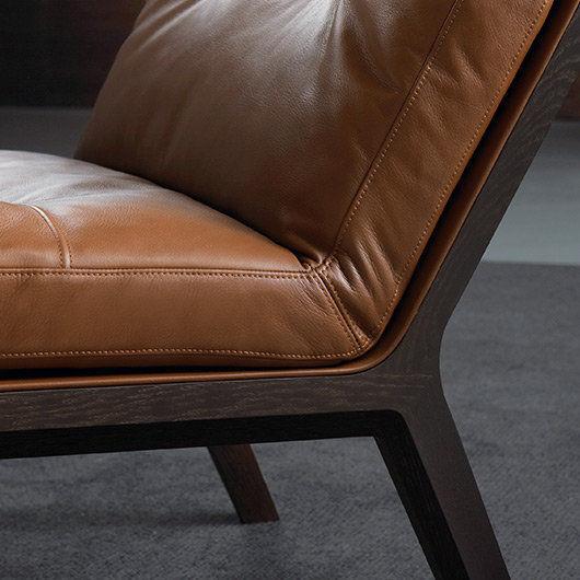 Fauteuil Contemporain En Cuir En Chêne ANDOO LOUNGE By Eoos - Fauteuil contemporain cuir