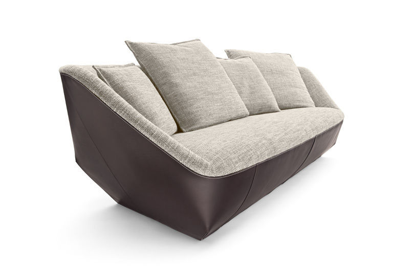 Canape Contemporain En Cuir 3 Places Gris Isanka By Eoos