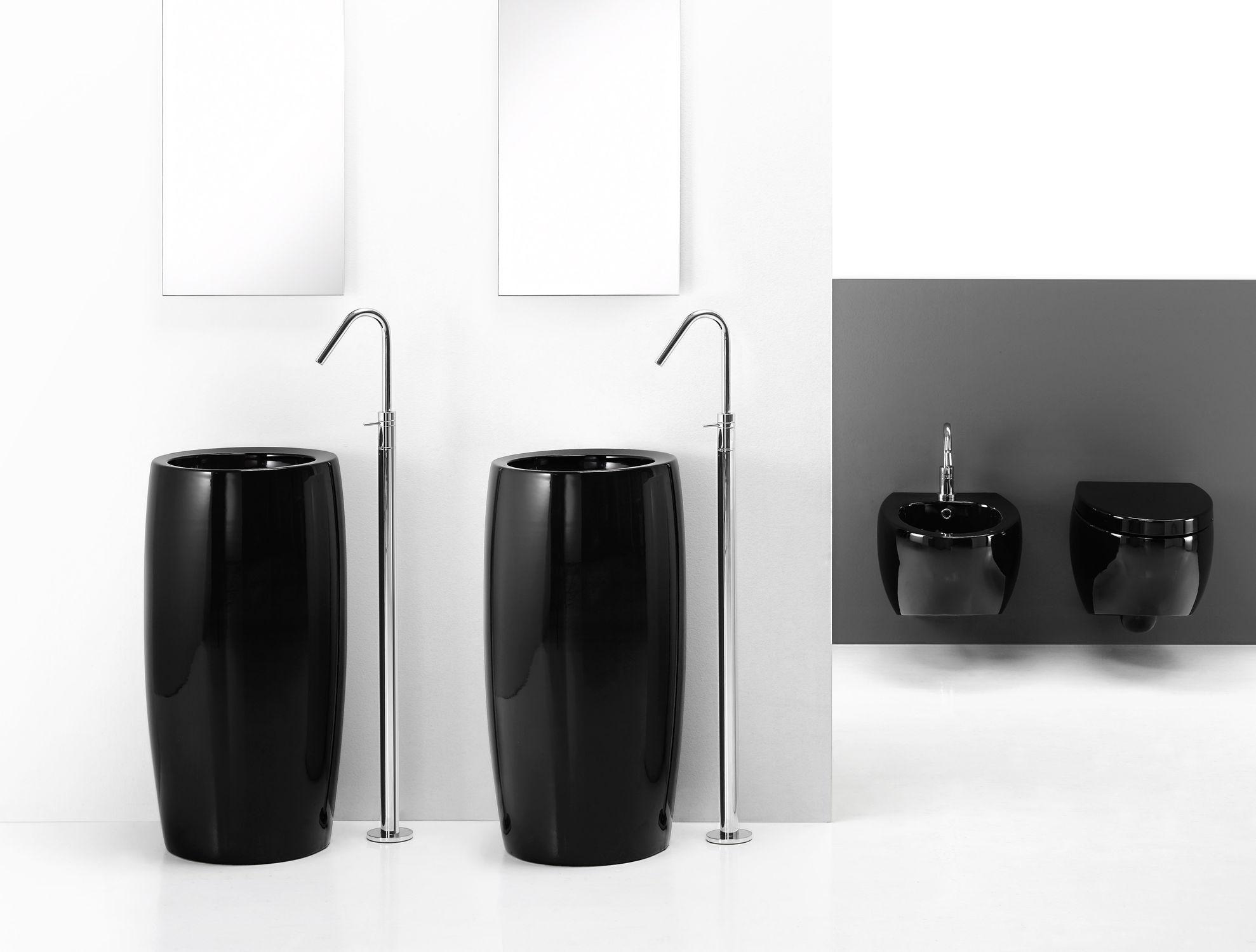 Vasque sur pied / ronde / en céramique / design original   totem ...