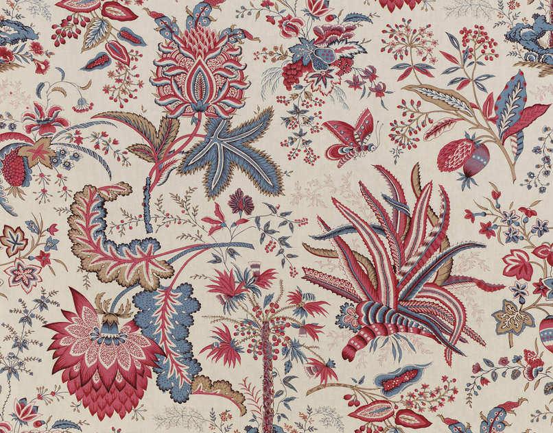 Tissu dameublement / à fleurs / en coton , MARQUIS DE SEIGNELAY  TOILE DE JOUY