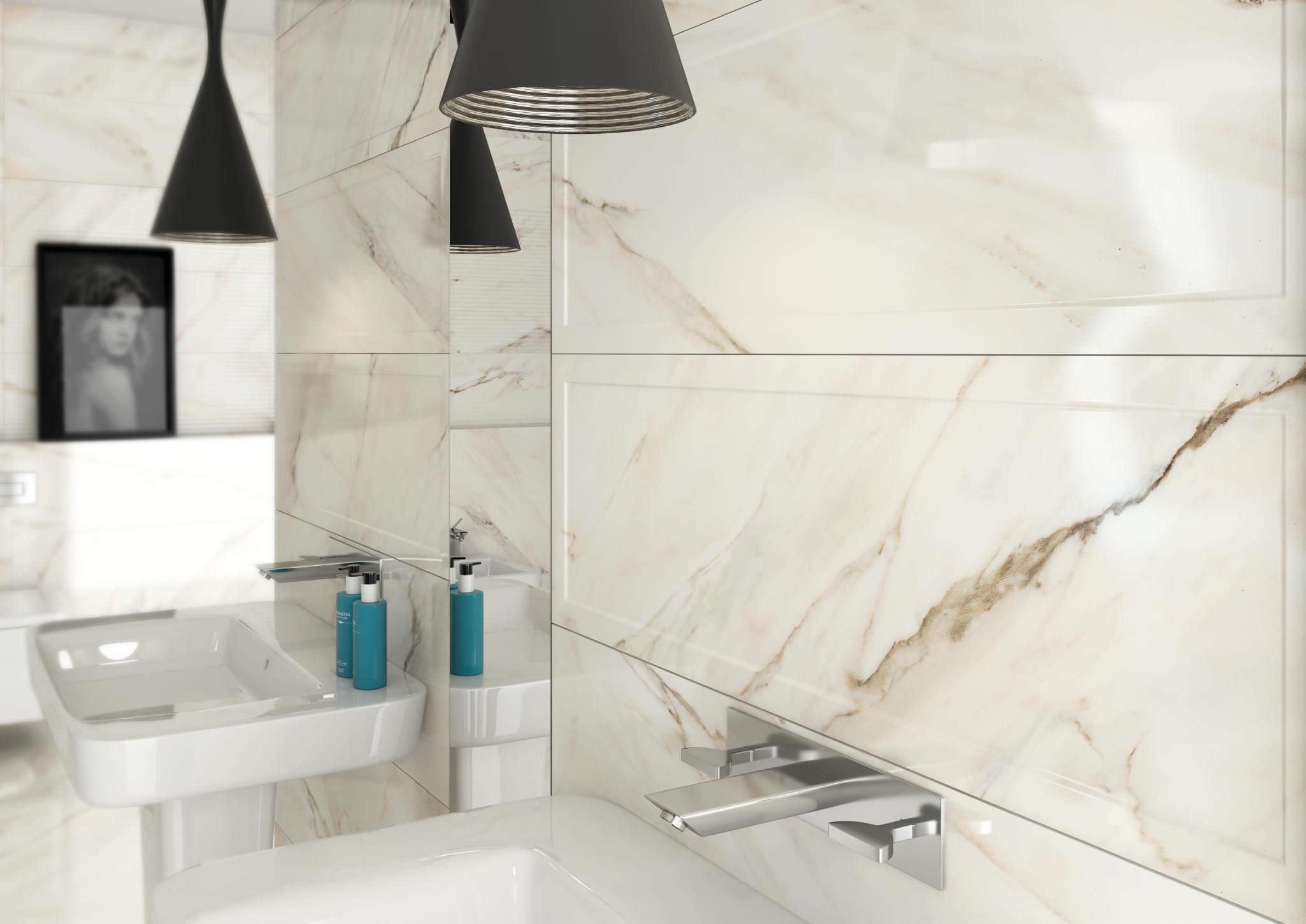 carrelage de salle de bain mural en grs crame poli calacatta roca tile - Faience Marbre Salle De Bain