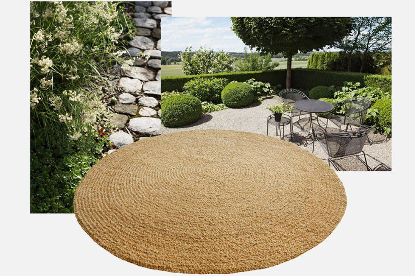 Tapis Contemporain Uni En Fibre Vegetale Rond Braid