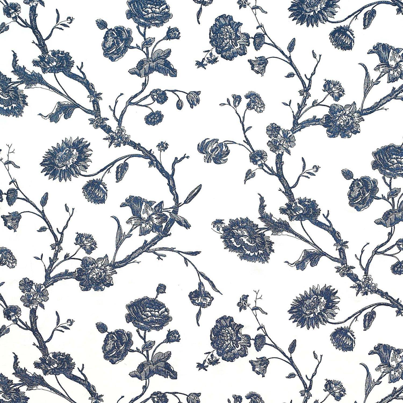 Tissu pour rideaux / à fleurs / en lin / brodé - INDIGO: BLUEVILLE ...