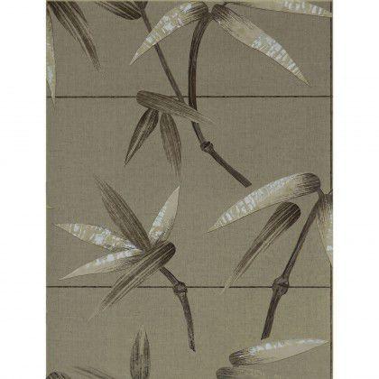 Papier Peint Oriental A Motif Nature Dore Argente Hispania
